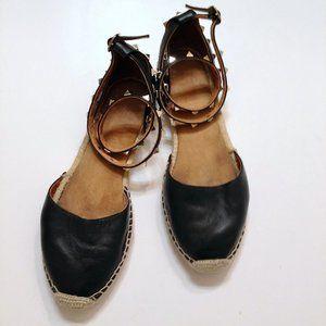 Maypol| blk double wrap leather espadrille sandals